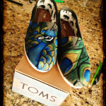 Hand painted peacock Toms.