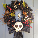 Haunted Mansion inspired wreath. Bone colored skull.