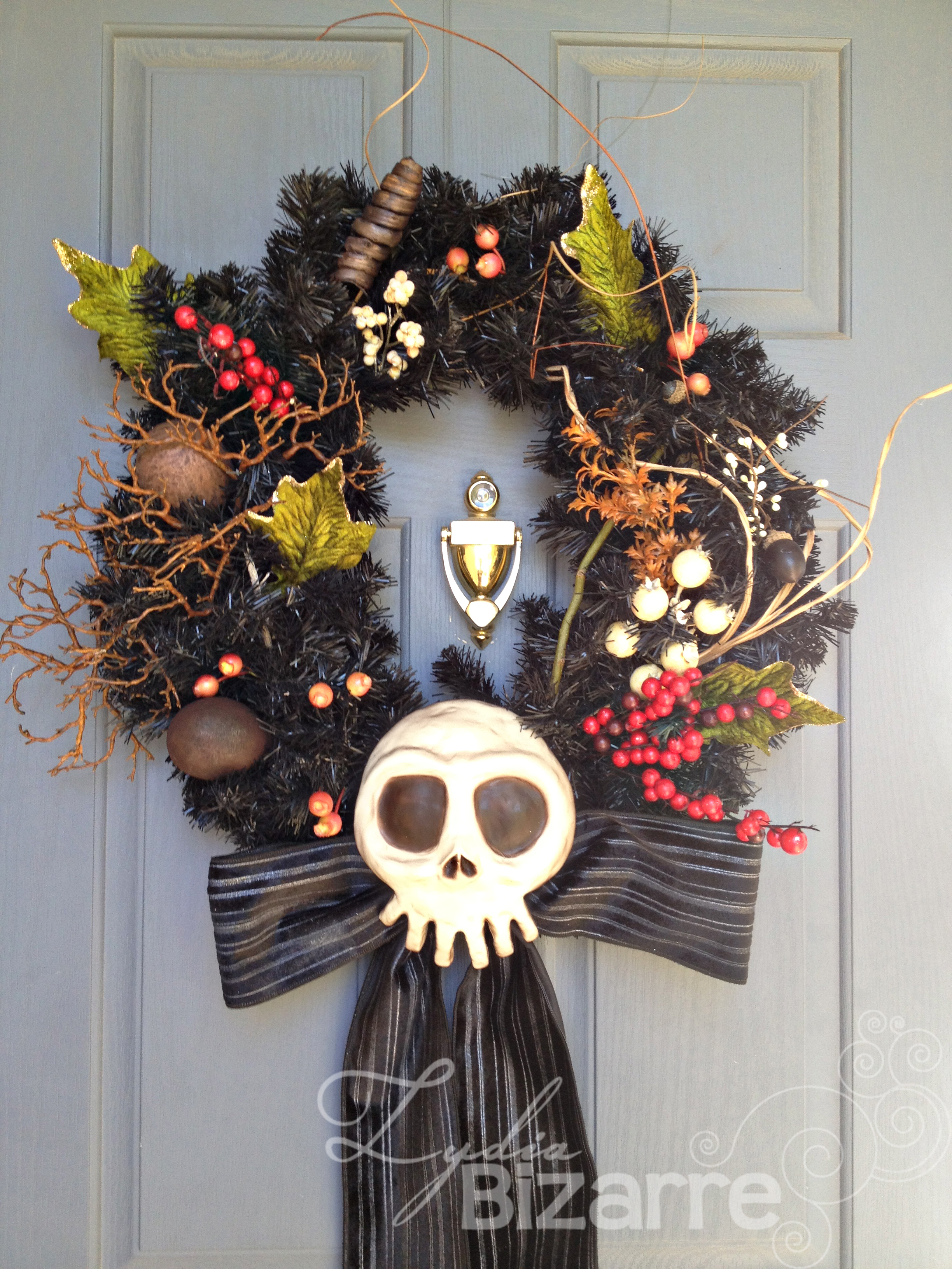 Nightmare before christmas skull nightmare before christmas skull haunted mansion inspired wreath solutioingenieria Gallery