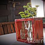 Glass Bottle Wood Vase